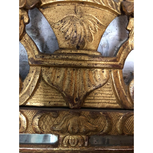 Gold Leaf 18th Century Carved Gilt Wood Louis XIV Mirror For Sale - Image 7 of 8