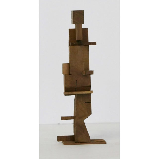 Abstract Los Angeles Artist Behzad Haghiri's Hand Made Walnut Sculpture For Sale - Image 3 of 6