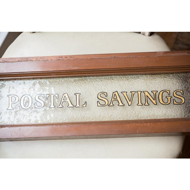 Vintage United States Post Office Glass & Wood Sign For Sale - Image 4 of 5