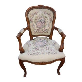 French Provincial Tapestry Ornate Carved Arm Chair For Sale