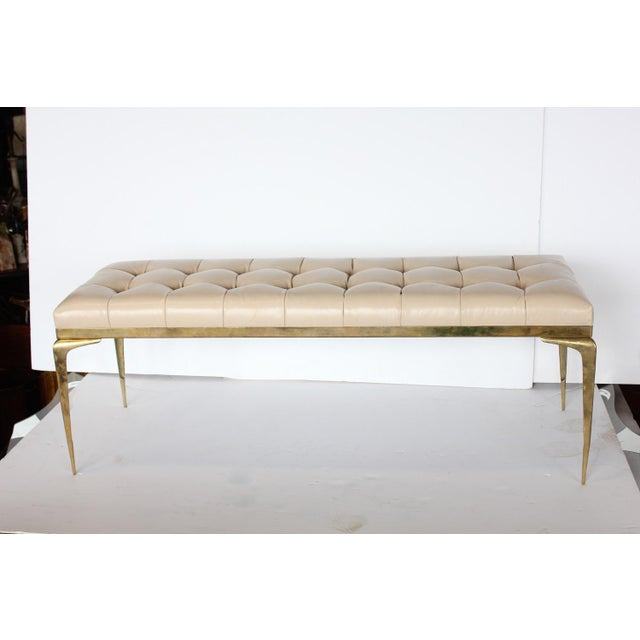 1960s Mid Century Italian Brass and Leather Bench For Sale - Image 5 of 5