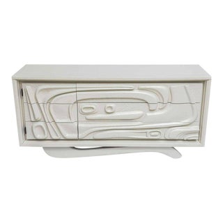 Sculptural White Lacquered Witco Abstract Credenza or Dresser