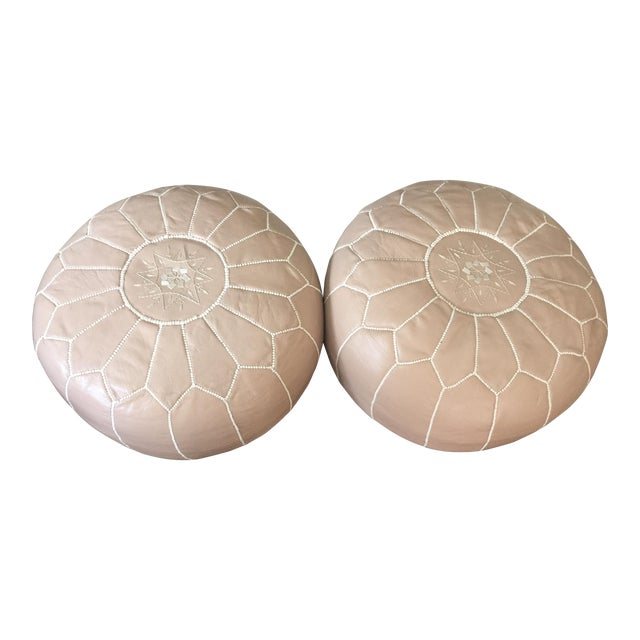 John Derian Taupe Moroccan Poufs - A Pair - Image 1 of 5