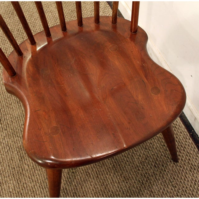 Cherry Wood Contemporary Duckloe Bros Cherry Hoop-Back Windsor Side Dining Chair For Sale - Image 7 of 11