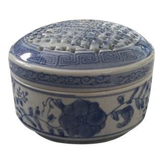 Vintage Chinoiserie Porcelain Blue & White Asian Frog Flower Vase Trinket Box