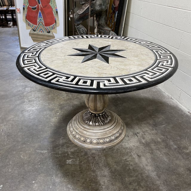 Tessellated Stone Top Greek Key Entryway Game Table For Sale - Image 10 of 12