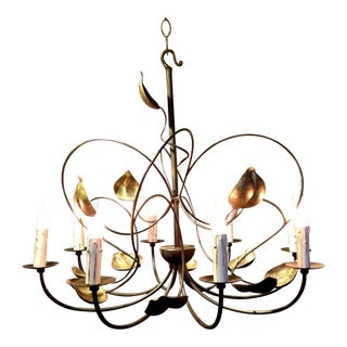 Modern French Iron Leaves Chandelier For Sale