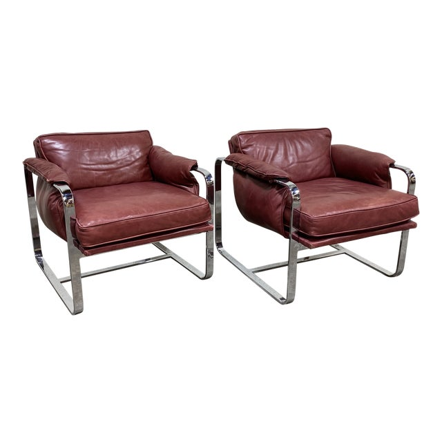 Mid Century Chrome Leather Club Chairs For Sale