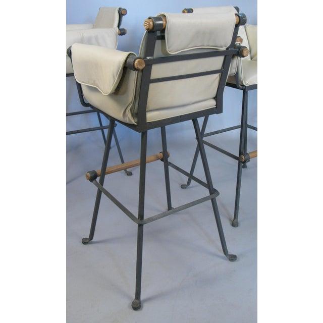 Terra Furniture Cleo Baldon Iron & Oak Swivel Barstools - Set of 4 For Sale - Image 4 of 10