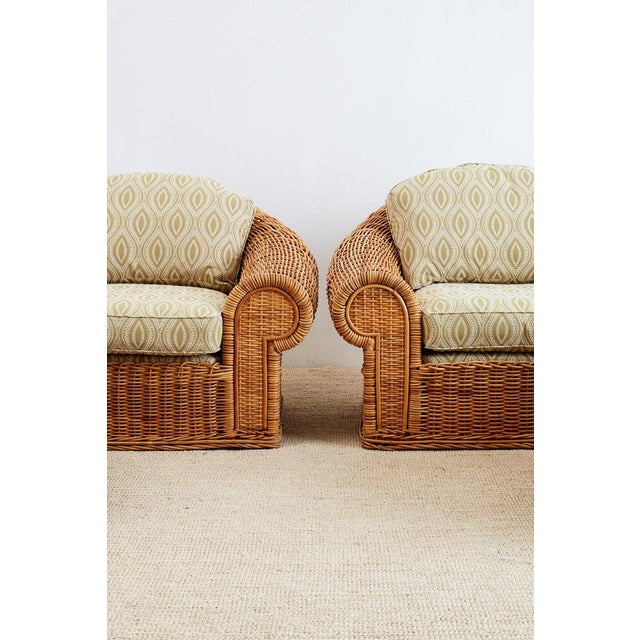 Michael Taylor Style Wicker Lounge Chairs and Ottomans For Sale - Image 4 of 13