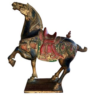 Carved Polychromed Chinese Horse For Sale
