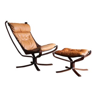 Sigurd Ressell Falcon Lounge Chair and Ottoman by Vatne Mobler Circa 1975 For Sale