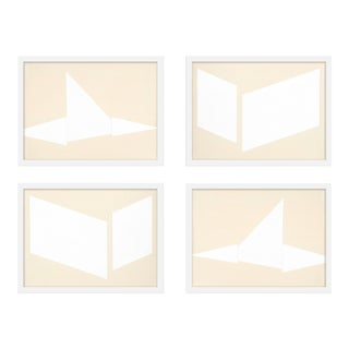 "XL ""Compositions in Cream, Set of 4"" Print by Jason Trotter, 60"" X 48"" For Sale"