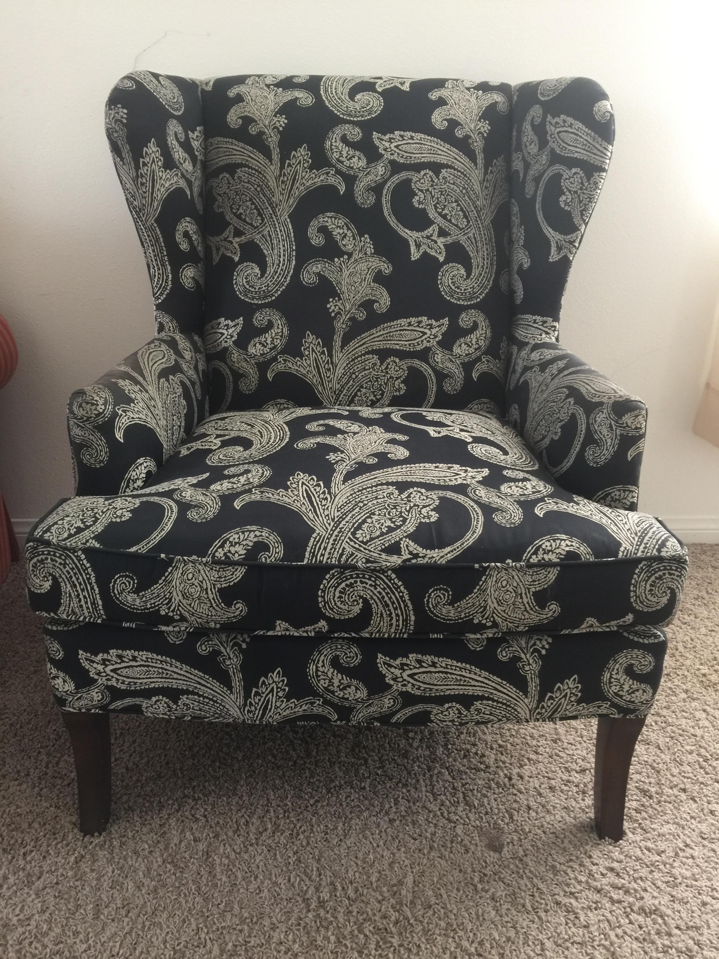 Kravet Black And White Paisley Pattern Club Wingback Chair   Image 2 Of 5