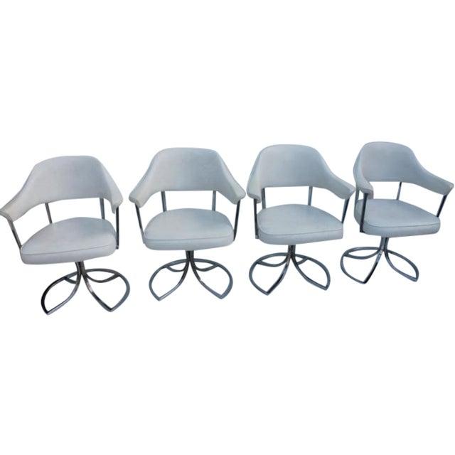 Vintage Retro Chrome Swivel Dining Chairs - 4 | Chairish