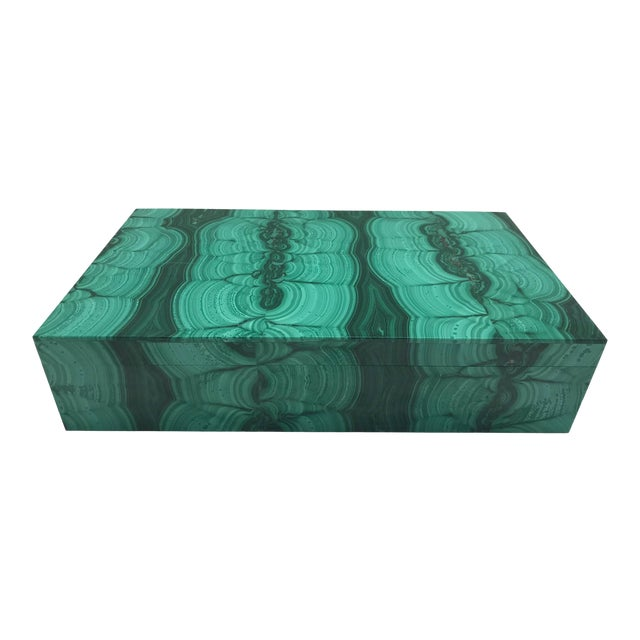 Very Large Malachite Box with Hinged Lid For Sale