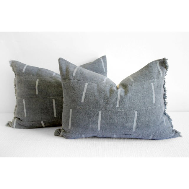 Textile Vintage Mud Cloth Standard Sham Pillows in Gray Blue - a Pair For Sale - Image 7 of 7