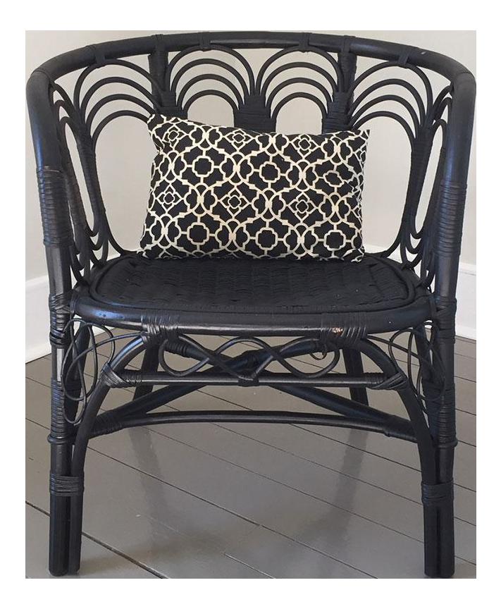 Black Wicker Rattan Vintage Barrel Chair