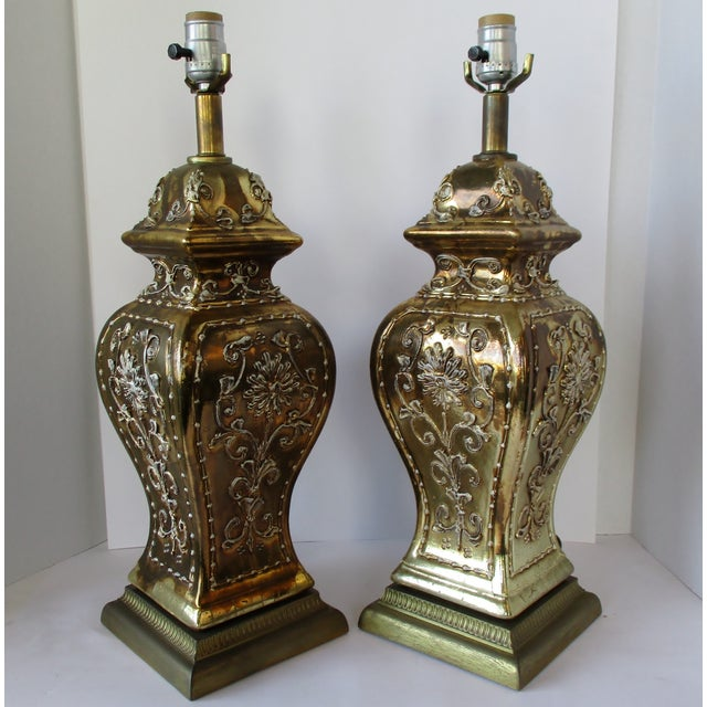 Hollywood Regency Gold Ginger Jar Lamps, a Pair For Sale - Image 3 of 9