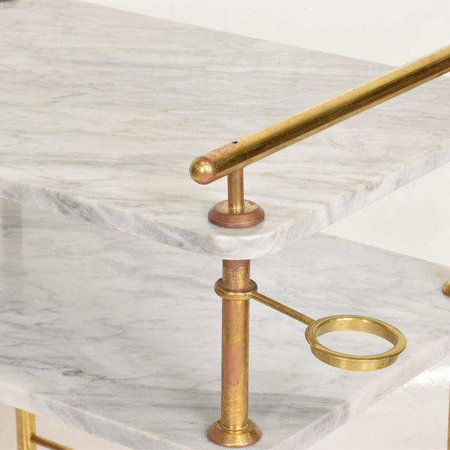 Gold Mid Century Modern Bakery Service Table in Carrara Marble and Brass For Sale - Image 8 of 11