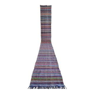 Vintage Handmade Ragrug Runner Rug Extra Long Runner Stair Tread- 2′4″ × 20′6″ For Sale