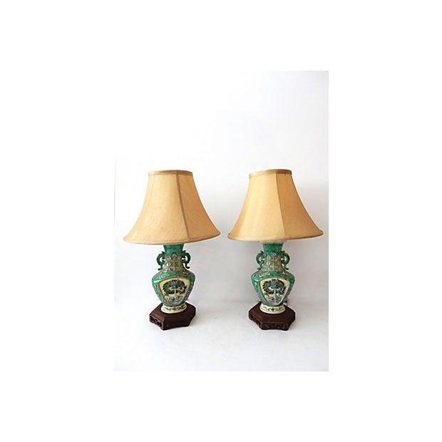 19th C. Porcelain Dragons Lamp - Pair - Image 2 of 10
