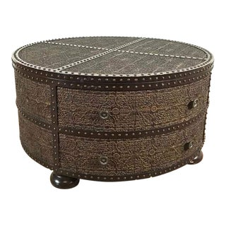 Contemporary 'Zanzibar' Round Carved Wood and Metal Coffee Table