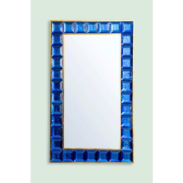 Metal Contemporary Blue Diamond Murano Glass Mirror For Sale - Image 7 of 8