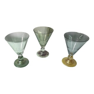 Blue Purple and Green Blown Glass Parfait Glasses - Set of Three For Sale