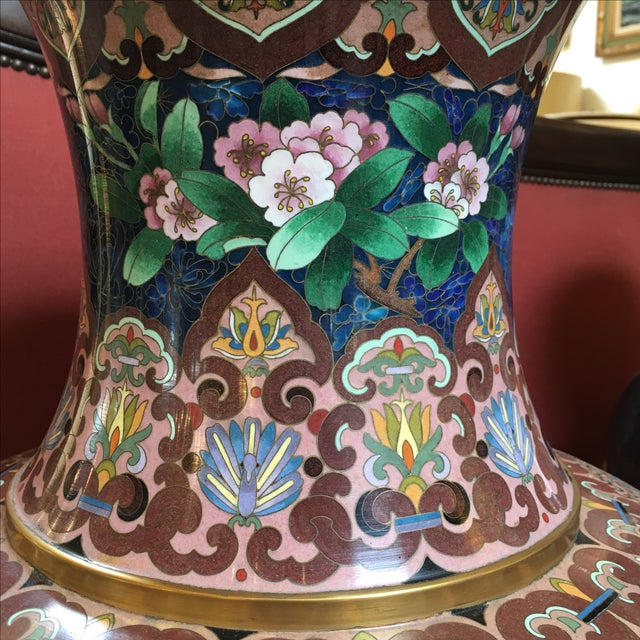 Chinese Cloisonne Style Vases - A Pair - Image 5 of 11