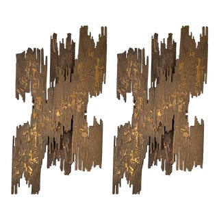 Pair of Bronze Sconces Brutalist Sculpture. France, 1970s For Sale