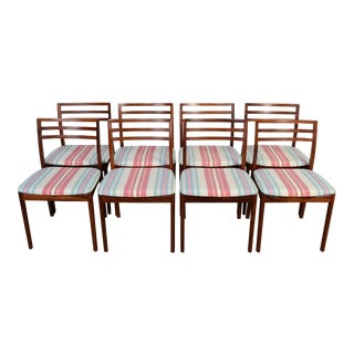 1970s Rosewood Moller Style Dining Chairs - Set of 8 For Sale