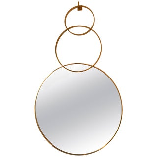 Contemporary Brass Mirror 3 Circle For Sale