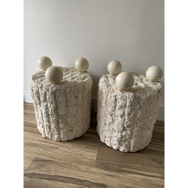 Late 20th Century Mactan Stone Side Tables - a Pair For Sale - Image 9 of 12