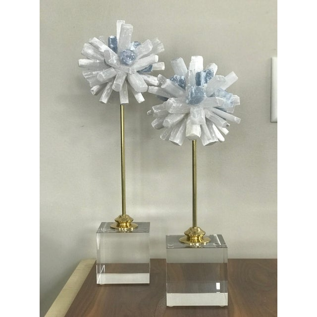 2010s Selenite Sculptures on Glass Cube Stands - a Pair For Sale - Image 5 of 5