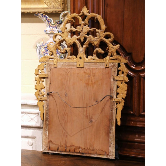 18th Century French Louis XV Carved Giltwood and Blackened Mirror From Provence For Sale - Image 10 of 13