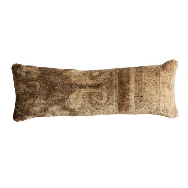 Reclaimed Vintage Turkish Rug Fragment Lumbar Pillow For Sale