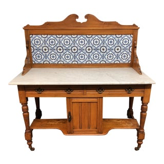 1920s Vintage Marble & Tile Wash Stand For Sale