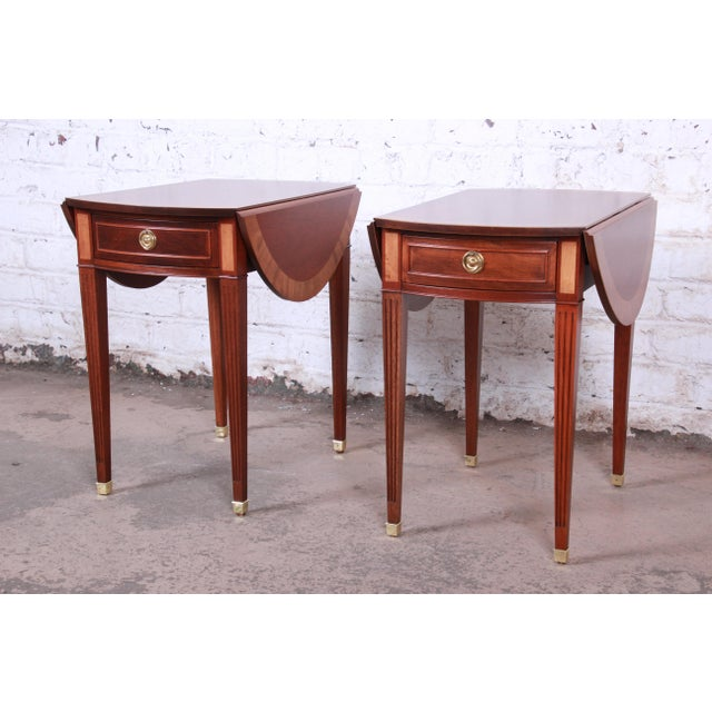Baker Furniture Georgian Style Banded Mahogany Pembroke Side Tables - a Pair For Sale - Image 13 of 13