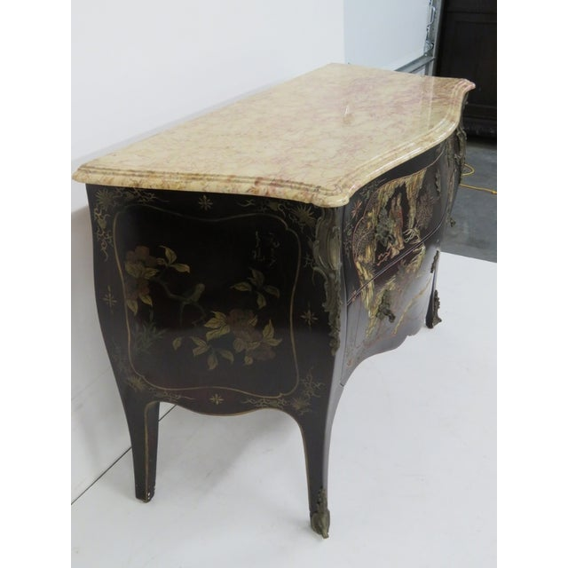 French Chinoiserie Marble Top Commode - Image 6 of 7