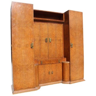 1940s French Art Deco Burlwood and Mahogany Armoire For Sale