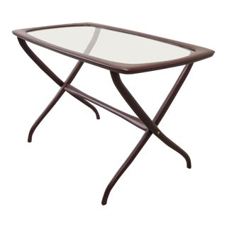 Mid-Century Italian Design Side Table With Solid Wooden Scissor Frame and Glass Top, Italy, 1950s For Sale