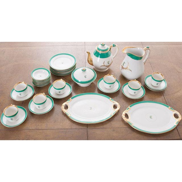 """French 19th Century Old Paris """"T"""" Dessert Service - Set of 33 Pieces For Sale - Image 9 of 10"""