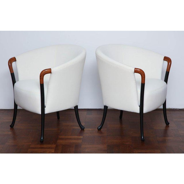 Beech Pair of Curved Back Armchair With Beech Wood Legs For Sale - Image 7 of 8
