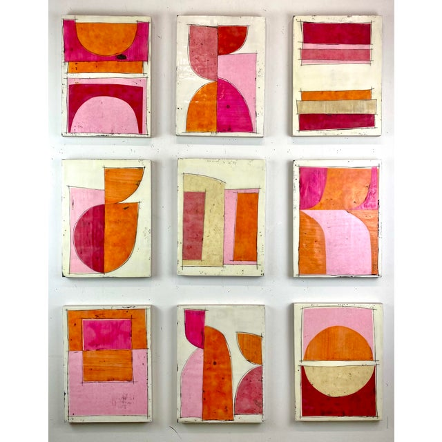 """Tickled"" Encaustic Collage Painting - 9 Piece Installation by Gina Cochran - Pink & Orange For Sale - Image 13 of 13"