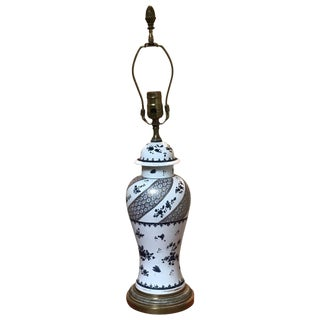 Mid 18th Century Vintage Chinese Export Vase Mounted Lamp For Sale