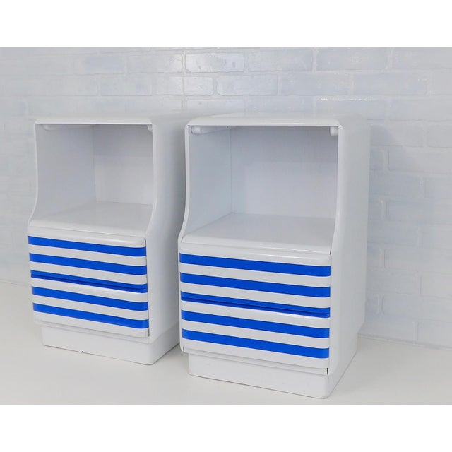 Mid-Century Modern Mid-Century Modern White & Blue Striped Nightstands - A Pair For Sale - Image 3 of 10