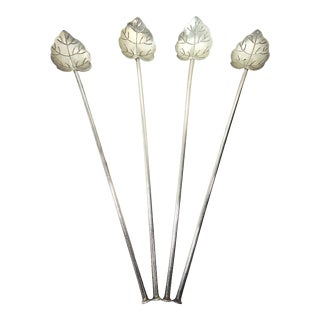 Sterling 'Silver Leaf' Drink Stirrers or Cocktail Straws - Set of Four (Mexico) For Sale