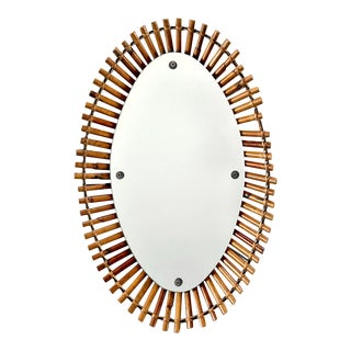 Italian Mid Century Bamboo Framed Oval Mirror For Sale