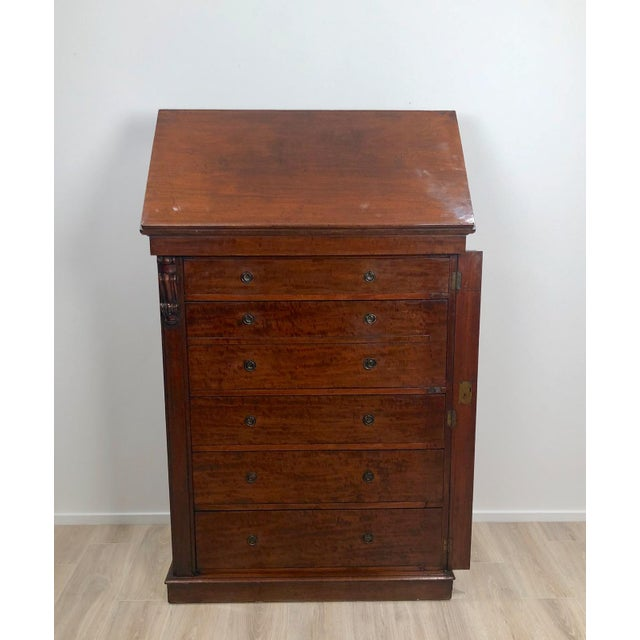 Early 19th Century Wellington Secretary Chest of Drawers, England Circa 1840 For Sale - Image 5 of 11